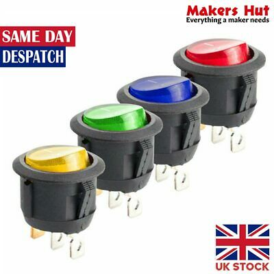 16A 12V LED Light Round Rocker ON/OFF SPST Switch 3 Pins With LED - 4 Colours