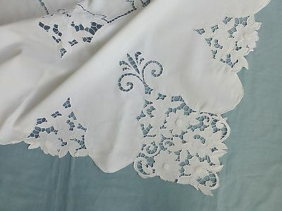 Vintage Art Deco Madeira style linen lace tea tablecloth- embroidered cutwork