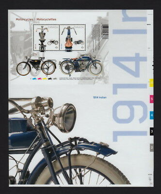 xca. Pos.12 MOTORCYCLES 1914 INDIAN & 1908 CCM S/S fr UnCut sheet CAN2013 #2646i