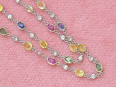 """Deco Style Multi Color Sapphire Diamond By-The-Yard Platinum 20"""" Chain Necklace"""