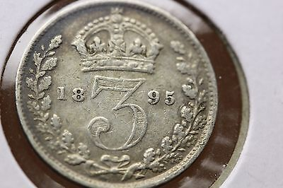 Lot of 2 Coins-1876 & 1895 Great Britain 3 Pence Silver  (1372)