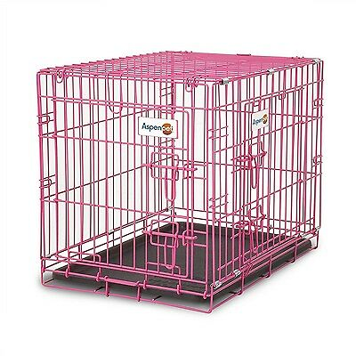 Double Door Folding Pink Dog Crate 24 in.long, ABS Tray Pan Divider Panel