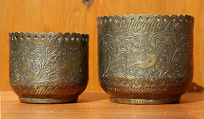 Vintage Middle Eastern/Oriental Asian 2 Brass Bowls/Planters.
