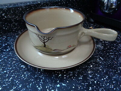 Denby Savoy Gravy / Sauce Boat And Stand