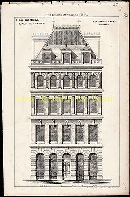 Earl Street Blackfriars Antique, Victorian Architecture,print, New Premises 1874