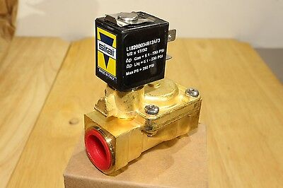 """ASCO Sirai 1/2"""" Brass Pilot Operated Solenoid Valve 2-way Normally Closed 12v DC"""