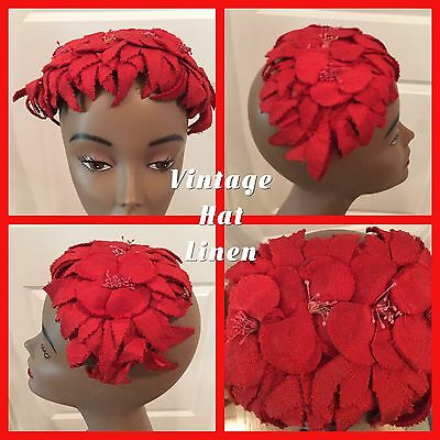 Vintage Ladies Hat Red Linen Headband 1940 - 1950's FREE SHIPPING USA!