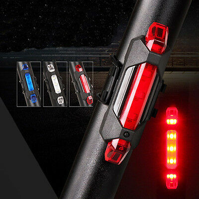 New 5 LED USB Rechargeable Bike Bicycle Cycling Tail Rear Light Safety Warning