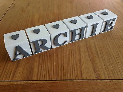 Personalised White Name Letter Block with Grey Letters And Hearts