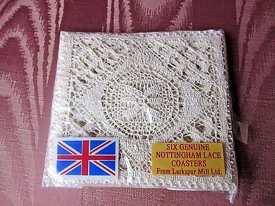 (6) Vintage Nottingham~Cluny Lace Coasters From Larkspur Mill Ltd. England NEW