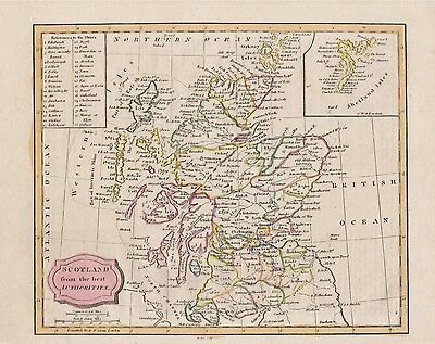 "210 year old map ""Scotland from the best Authorities"" by James Barlow c1806"