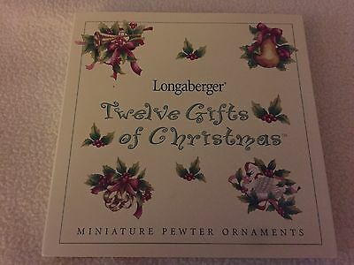 Longaberger Pewter Christmas Ornament Set:Twelve Gifts of Christmas 2000 New