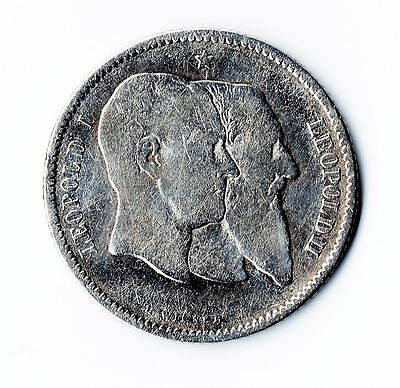 1880 Belgian 1 Franc - Silver Coin - Leopold I. -Leopold Ii     #182
