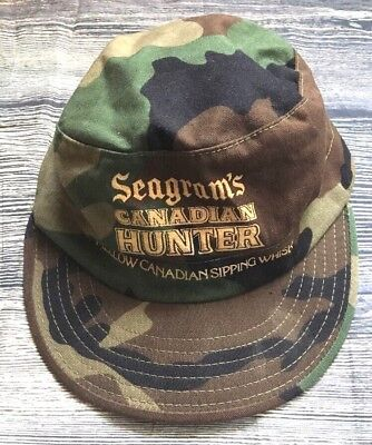 Vintage Seagrams Canadian Hunter Whisky Hat Cap Military Combat Camo Size 7-1/4