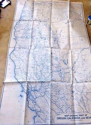 Vintage Giant Map Part Of Oregon California Nevada 1921 One Inch = 10 Miles