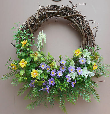 """14"""" Yellow  Purple Mint Green Mixed Floral Spring Grapevine Door Wreath"""