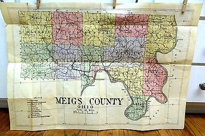 Antique Meigs County Ohio Large Map 32 x 22""