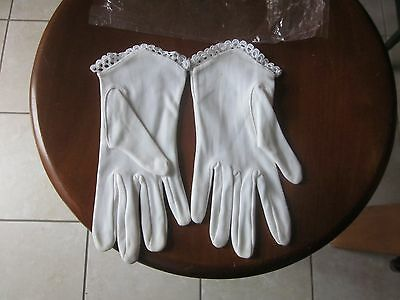 Pair Little Girls White Gloves Lace Trim Ages 8 - 12