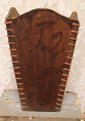 RARE Antique Wooden Flemish Art Umbrella Cane Stand With Leather Laces