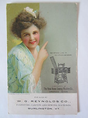 Antique Victorian Trade Card Burlington VT Vermont W Reynolds Co Sewing Machines