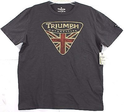 NWT Lucky Brand Triumph Motorcycle UK Flag Badge Logo Gray T-Shirt