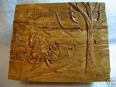 Primitive Quebec Adrien Arpin Signed Hand Carved Wood Trinket Box & Lid ~ Winter
