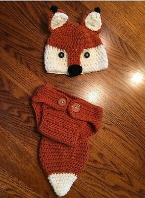 Fox Hat And Diaper Cover, Crocheted Newborn Fox Hat And Cover, Photo Prop