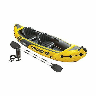 Intex Explorer K2 Kayak 2-Person Inflatable Kayak Set with Aluminum Oars and ...