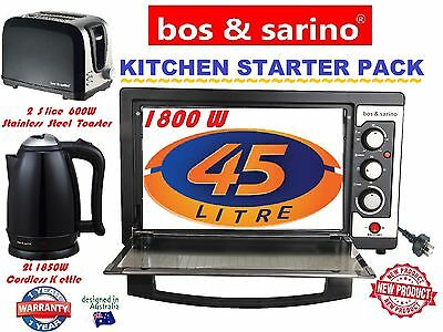 BOS & SARINO Kitchen Starter Pack 45L Oven, 2 Slice Toaster & 2L Cordless Kettle