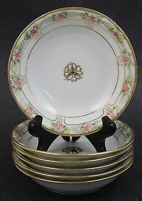 6 pc Vintage Signed Nippon Poreclain Gold Gilt Dessert Ice Cream Sauce Bowl Set