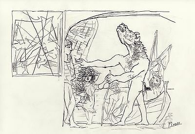 "Pablo Picasso  18x12 Pencil Drawing "" Blind Minotaur guided by a Young Girl"""
