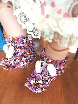 SHOES  FOR  'AG,'BABY BORN' dolls HAND KNITTED SLIPPERS