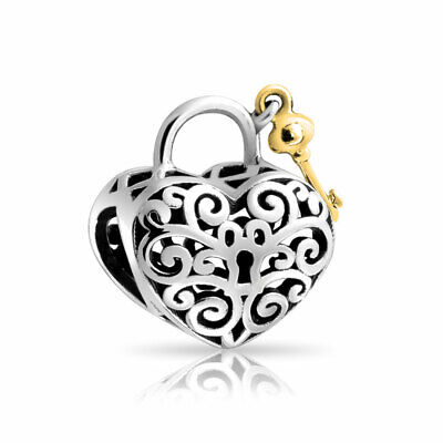 Bling Jewelry 925 Silver Gold Vermeil Key to My Heart Filigree Bead