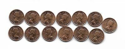 1962 Canada 1 cent Lot of 13 coins BU?? Red Toned Beautiful Light Cameo
