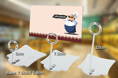 5pcs Bakery Food Store Cake Shop Stainless Steel Clip Stand Sign Card Display #F