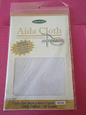 New Sullivans White 14 count Aida Cloth Pack 36 cm x 45 cm