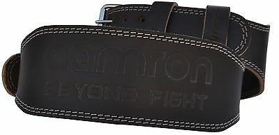 "AAMRON ® 4"" Tanned Leather Weight Lifting Belt Back Support Strap Gym Training"