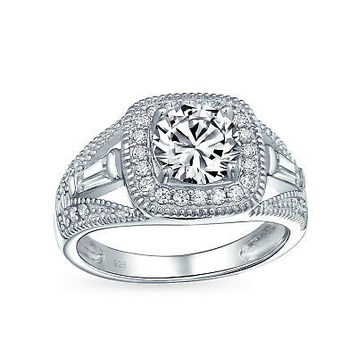 Bling Jewelry Sterling Silver 2ct CZ Antique Style Bridal Engagement Ring