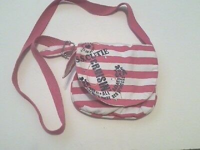 "Girls Young Teen small purse white/ pink shoulder bag ""Est 1989"" Place"