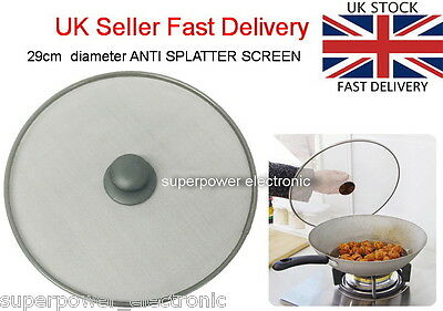 New Kitchen Frying Pan Splatter Screen Cover Guard Protective Lid Mesh Fat Oil