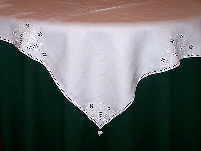 Fabulous Vintage Art Deco Tablecloth, Topper, 4 Napkins, Whitework Embroidery