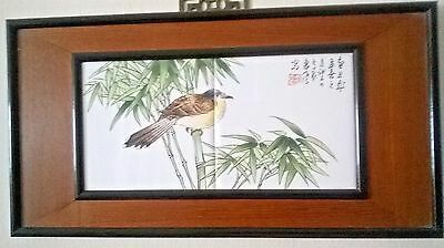 Old Chinese Handpaint Porcelain Tiles Plaque. Bird On Bamboo. Signed