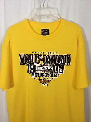 0950117 Harley Davidson Yellow T Shirt L V-Twin Power Short Sleeve Cotton Top