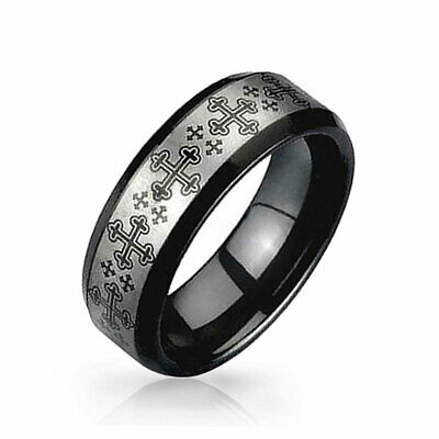 Medieval Cross Black and Tungsten Ring 8mm Silver Plated