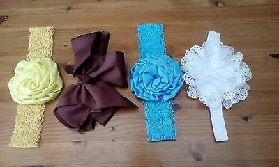 4 newborn reborn baby girls headbands size 0-6+months new