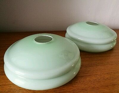 Superb Pair Art Deco Cased Glass Lamp Light Shades Pale Green 1920's