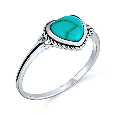 Bling Jewelry Reconstituted Turquoise Heart Ring Antique Style 925 Sterling