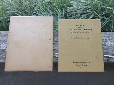 Antique Ishihara Test/Color Blindness/24 Plates/Autograph 1959/Slipcase/Brush**