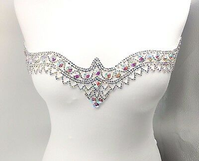 Stunning Sew-On Diamante Rhinestone Neckline Patch for Bridal Craft Dresses