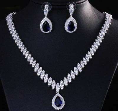 White Gold Rhodium Necklace Earring Set Sapphire blue Simulated CZ
